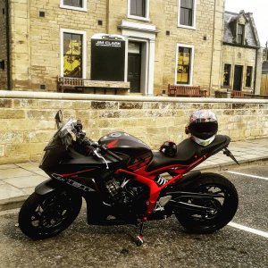 My cbr650f outside the Jim Clark museum, Duns.